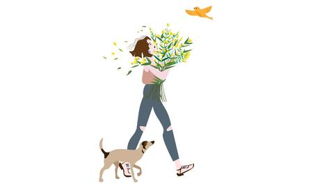 The vector illustration artwork of a girl carrying a beautiful flower bouquet walking down the street with a dog, birds flying around. Illustration