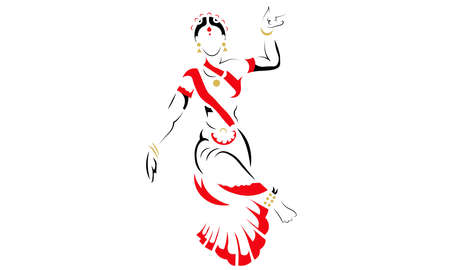 A vector illustration artwork of silhouette Indian classical dancer.