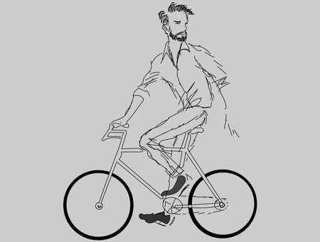 A vector illustration artwork of man in bicycle. Иллюстрация