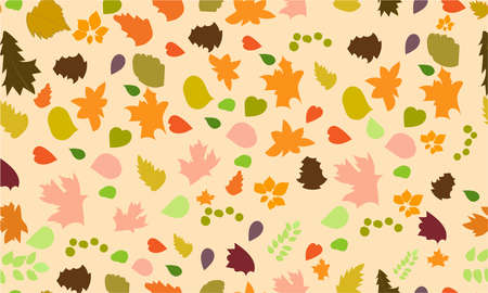 A vector illustration artwork of seamless pattern with autumn leaves