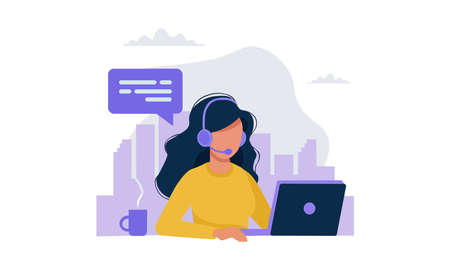 A vector illustration artwork of a girl working on computer.