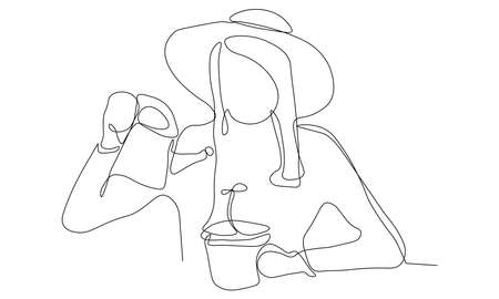 A vector illustration artwork of woman oneline portrait