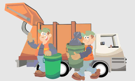 A vector illustration artwork of garbage collector. Essential worker.