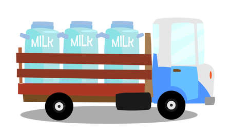 A vector illustration of a MILK truck. deliver Milk.