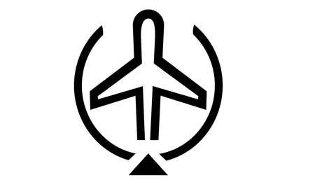 A VECTOR ILLUSTRATION ARTWORK OF PASSENGER FLIGHT ICON Illusztráció