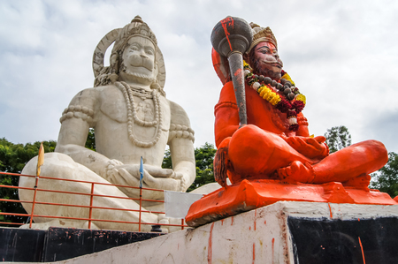 Hindu God Hanuman idol, Huge Statue of Indian lord Hanuman. Indian God Hanuman Huge Statue Background.