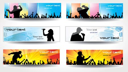 music poster: Advertising banners for sports championships and concerts