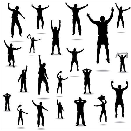 silueta hombre: Conjunto de actitudes de los aficionados por campeonatos deportivos y conciertos de música