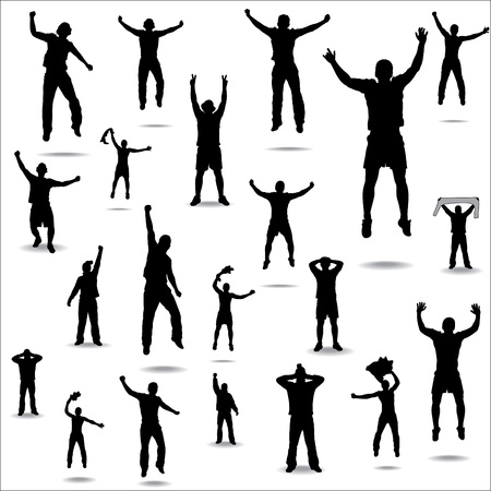 Set of poses from fans for sports championships and music concerts