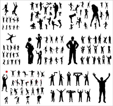 Big collection poses people  Vector