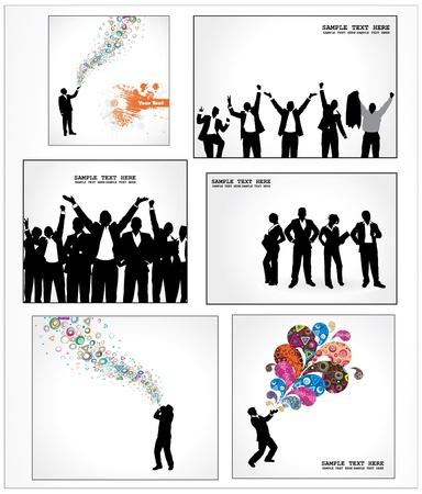 Establecer los carteles de los hombres de negocios exitosos Ilustración de vector