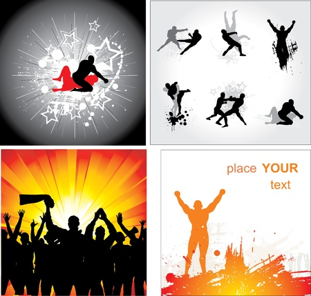 boxing sport: Set of silhouettes for sports championships Illustration