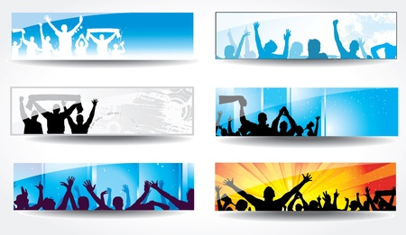 fan dance: Advertising banners for sports championships and concerts
