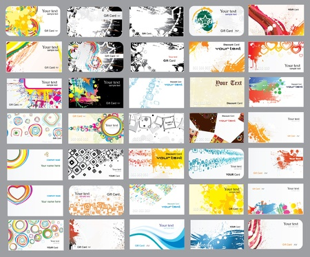 the topics: Business cards on different topics Illustration
