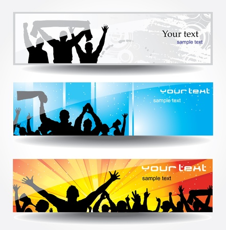 concert audience: Advertising banner for sports championships and concerts Illustration