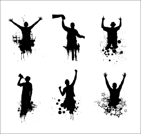 cheering people: Set of silhouettes for sports championships Illustration