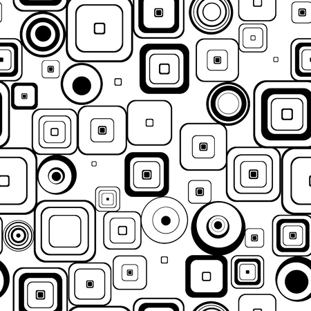 Seamless retro background from squares and circles  Illustration