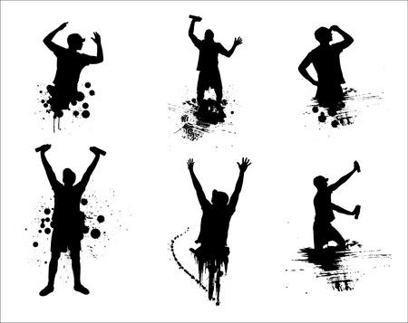 hip hop dance pose: Un conjunto de siluetas de los hombres de moda s