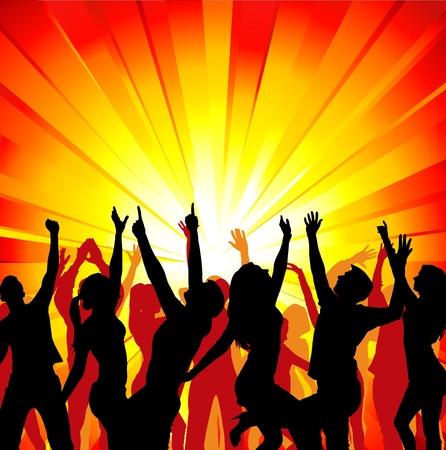 live entertainment: Sagome di ragazze danzanti e ragazzi