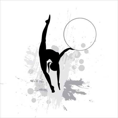 acrobat gymnast: Silhouette of the sportswoman on abstract background Illustration