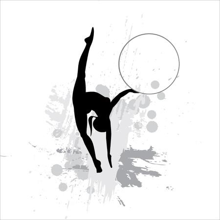 flexible woman: Silueta de la deportista en fondo abstracto Vectores