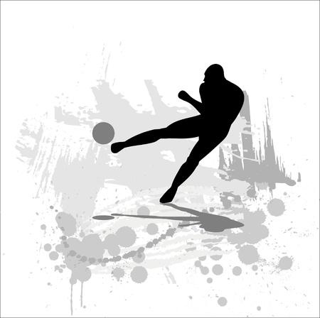 Silhouet van de voetballer op abstracte achtergrond