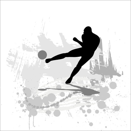 soccer stadium: Silhouette of the soccer player on abstract background