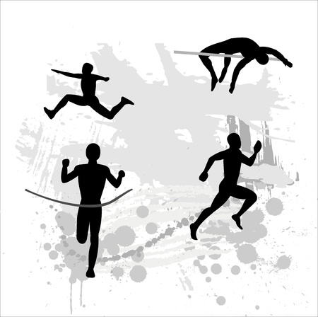 road runner: Silhouette of the light athlete on abstract background