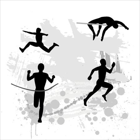 road runner: Silueta de la atleta de luz sobre fondo abstracto
