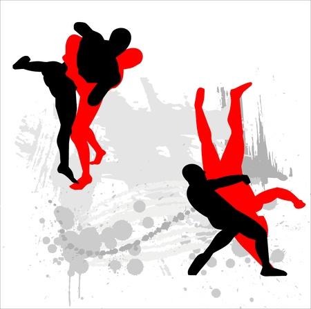 peleando: Siluetas de los luchadores en el fondo abstracto Vectores
