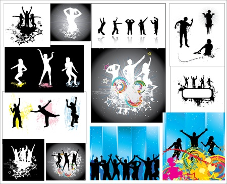 Set Posters of the dancing people  Vector