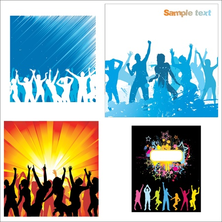 Set Posters of dancing girls and boys Stock Vector - 13114645