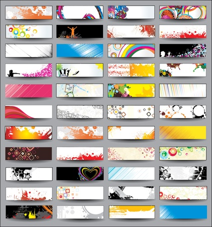 header label: Collection Horizontal Headers on different topics Illustration