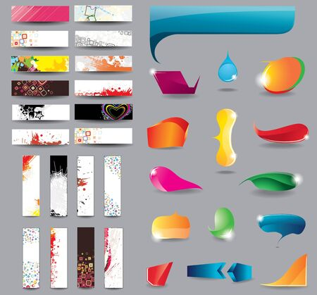 Headers and bubbles for speech on different topics Vector