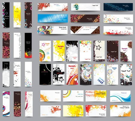 Mix collection banners and business cards  Illustration
