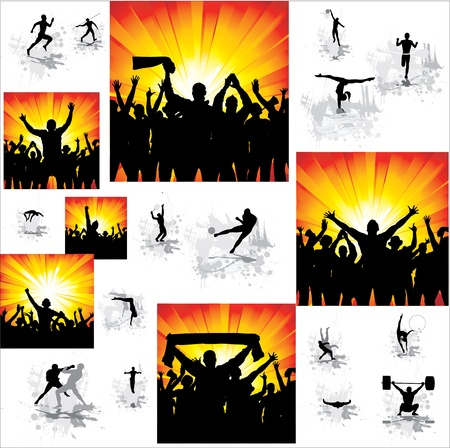 sports event: Set  Icons for sports championships and posters from happy fans