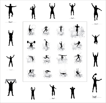 fan dance: Set  Icons for sports championships and happy fans   Illustration