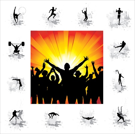 pole dance: Set  Icons for sports championships and poster from happy fans   Illustration