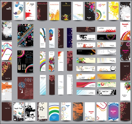 poster business: A set of flyers , banners and labels