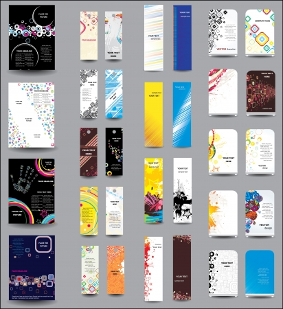 blank brochure: A set of flyers , banners , labels, roll-up Illustration