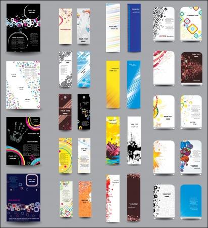 flyer background: Een set van flyers, banners, etiketten, roll-up Stock Illustratie