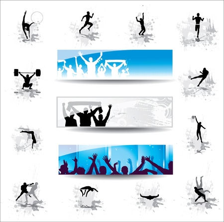 cheering crowd: Set  Icons for sports championships and banners from happy fans