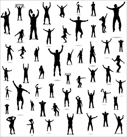 Set of poses from fans for sports championships and music concerts  Boys and girls  Vector