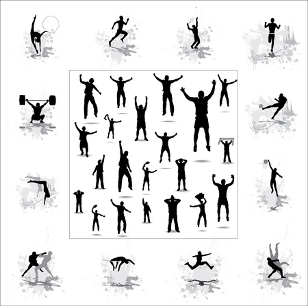 long jump: Set. Icons for sports championships and happy fans