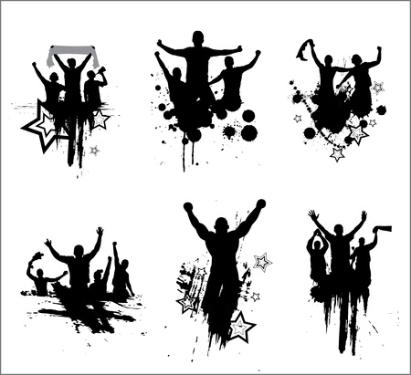 fan dance: Set of silhouettes for sports championships and concerts