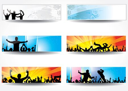 rock hand: Advertising banners for sports championships and concerts