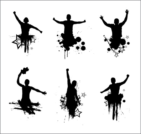 cheering crowd: Set of silhouettes for sports championships and concerts