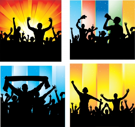 cheering people: Set posters for sports championships and music concerts  Illustration
