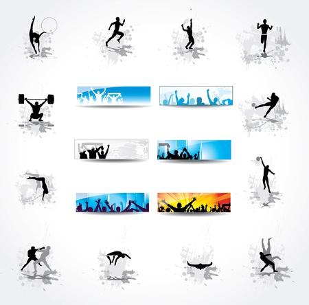 gente corriendo: Establecer iconos campeonatos deportivos y banderas de los fans felices