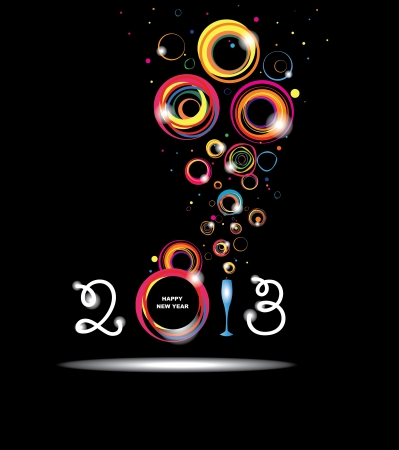 New year 2013 in black background  Abstract poster Illustration